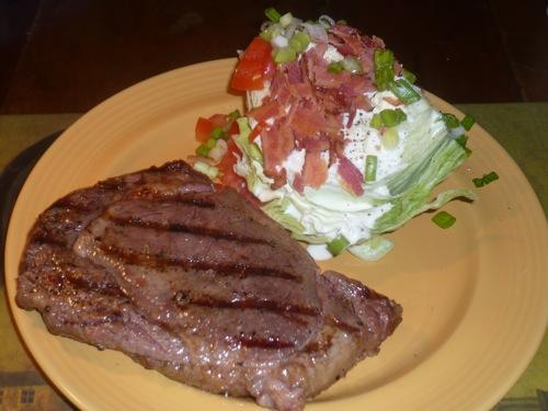 Dinner Dec 1, 2008 Steak and wedge salad