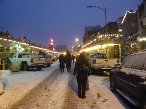 MD in the snow at Pike Place Market