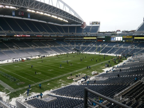 View of field from skybox