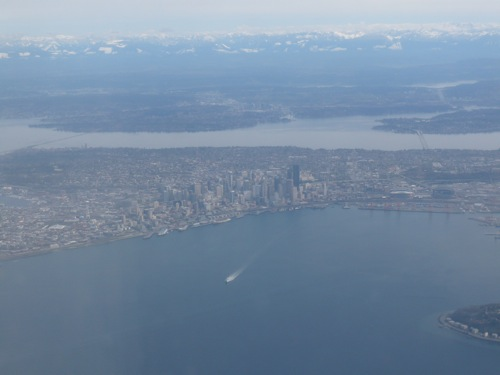 Seattle skyline from the plane window a couple of days ago