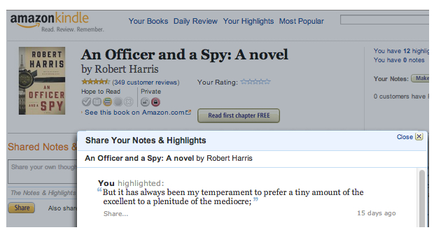 Kindle page - Officer and a Spy